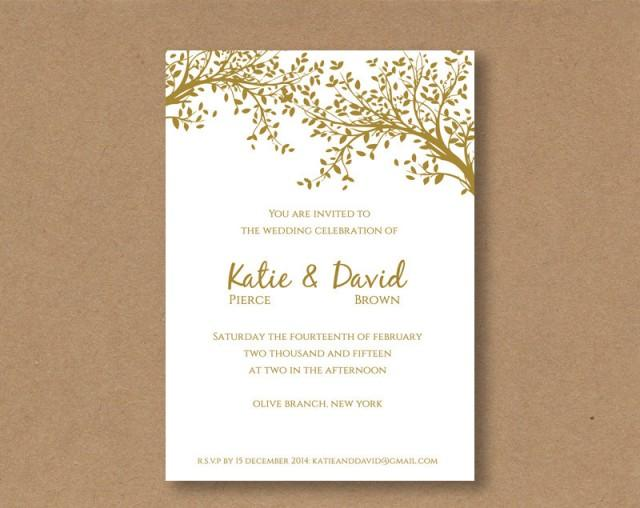 Golden Wedding Invitations Free: DIY Editable And Printable Wedding Invitation Template