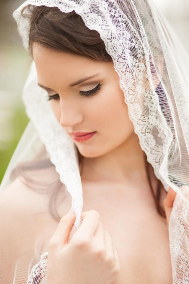 Romantic Boho Wedding Veil - Lace And Soft English Net ...