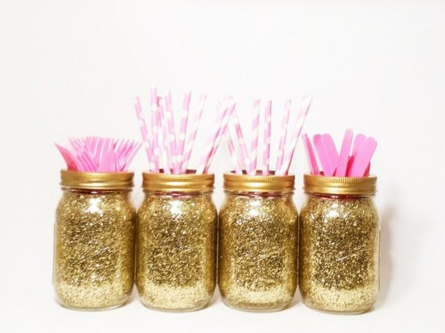 Mason Jar Centerpieces, Gold Wedding Decor, Baby Shower Centerpiece,  Birthday Decorations, Wedding Centerpieces, Graduation Decor, Set Of 4  #2422719   ...