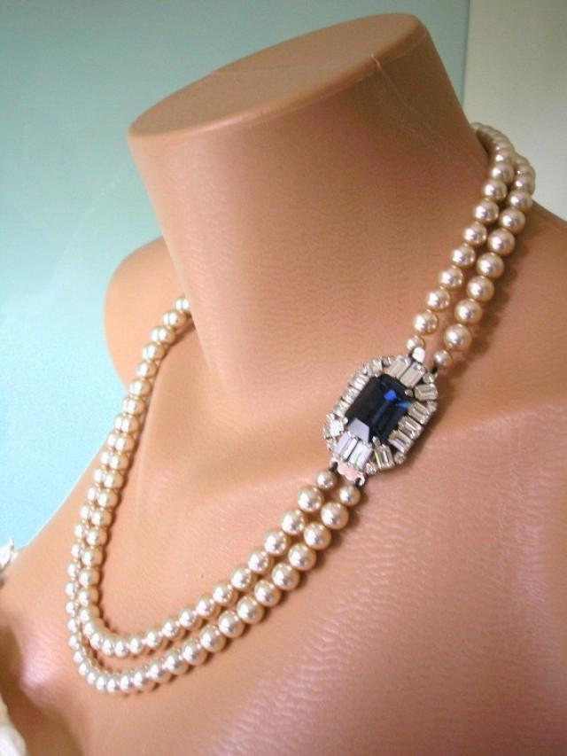 Sapphire Necklace Pearl Necklace Great Gatsby Jewelry