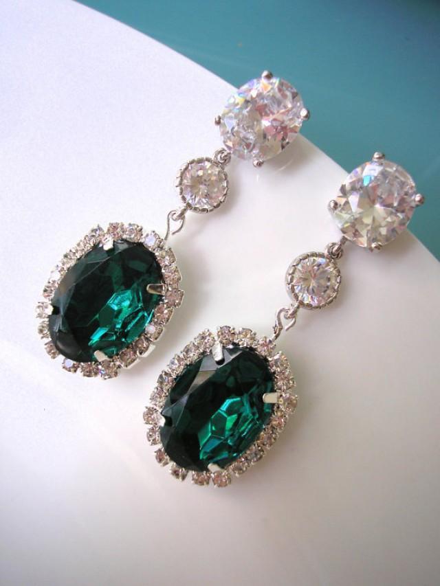 Emerald Bridal Earrings Bridal Drop Earrings Cz