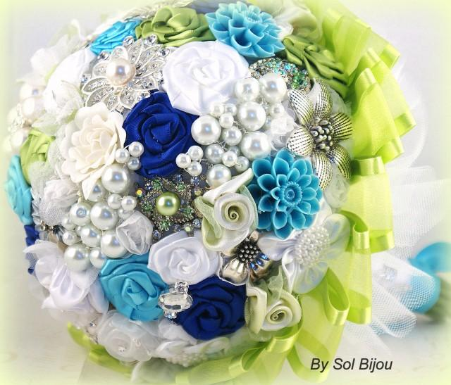 Brooch Bouquet, Turquoise, Lime Green, Royal Blue, White, Bridal ...