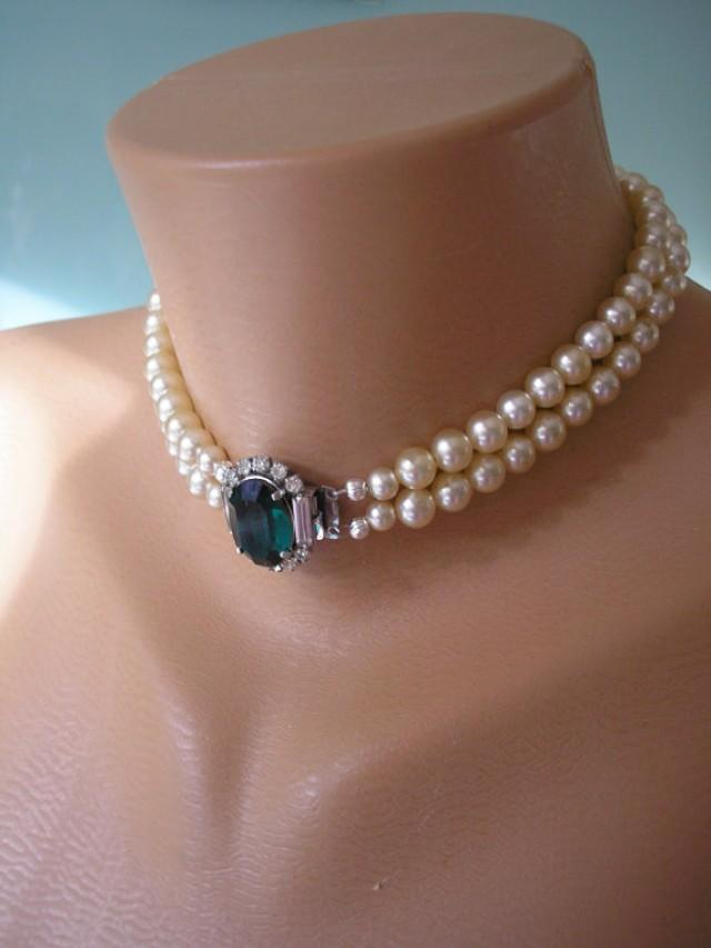 Emerald Necklace Pearl Choker Emerald And Pearl Great