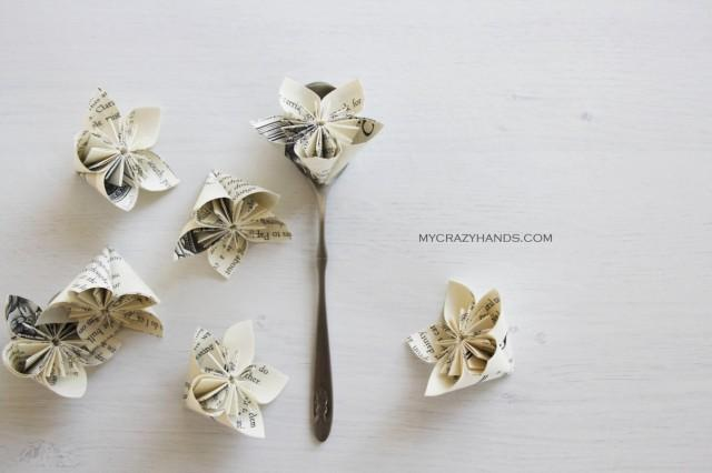 12 origami flowers paper flower wedding flower favors party 12 origami flowers paper flower wedding flower favors party flowers books book flower book pages 2424284 weddbook mightylinksfo