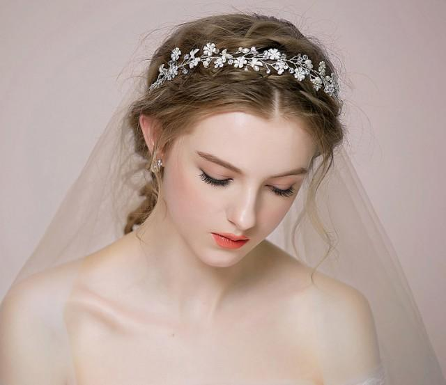 Bridal Floral Hair Vine Tiara Rhinestone Headpiece