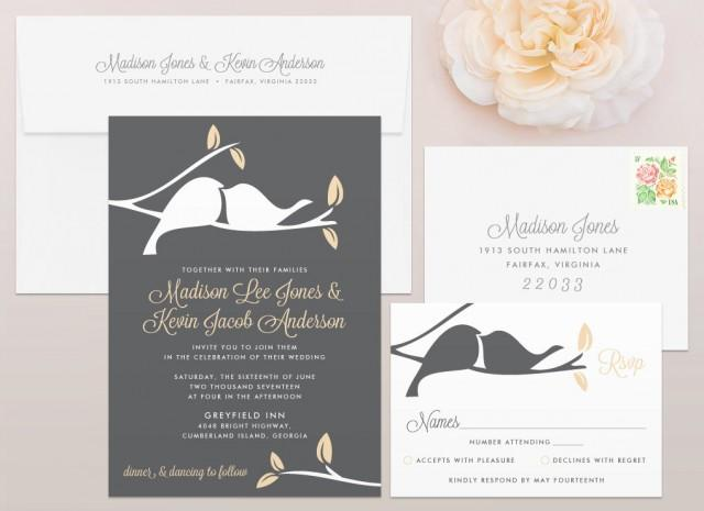 Bird Wedding Invitation: Love Birds Wedding Invitation & RSVP Set