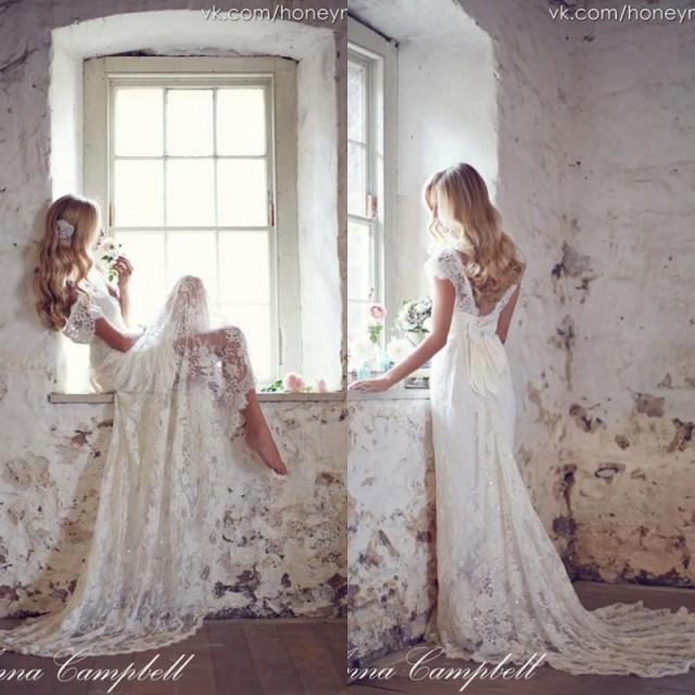 Anna campbell 2015 backless lace bohemian boho wedding for Backless bohemian wedding dress