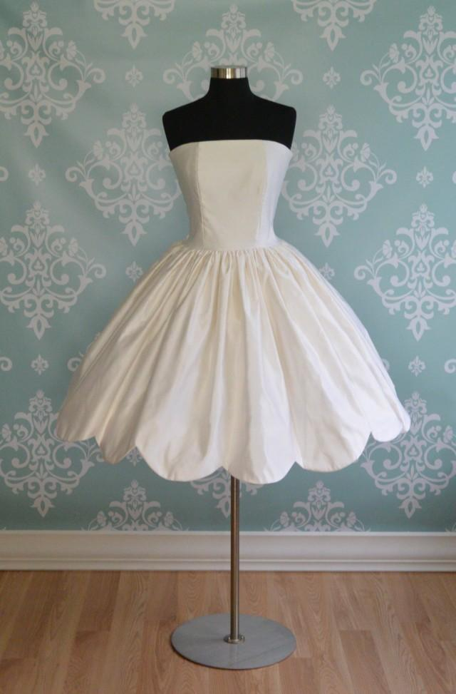 Wedding Dress Tea Length Buttercup Silk Scallop Hem Short