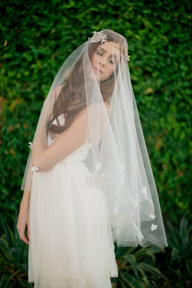 bridal veil  double layer veil  fingertip veil drop veil