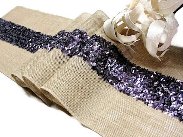 Purple Wedding Table Runner Sequin Rustic Wedding Decor