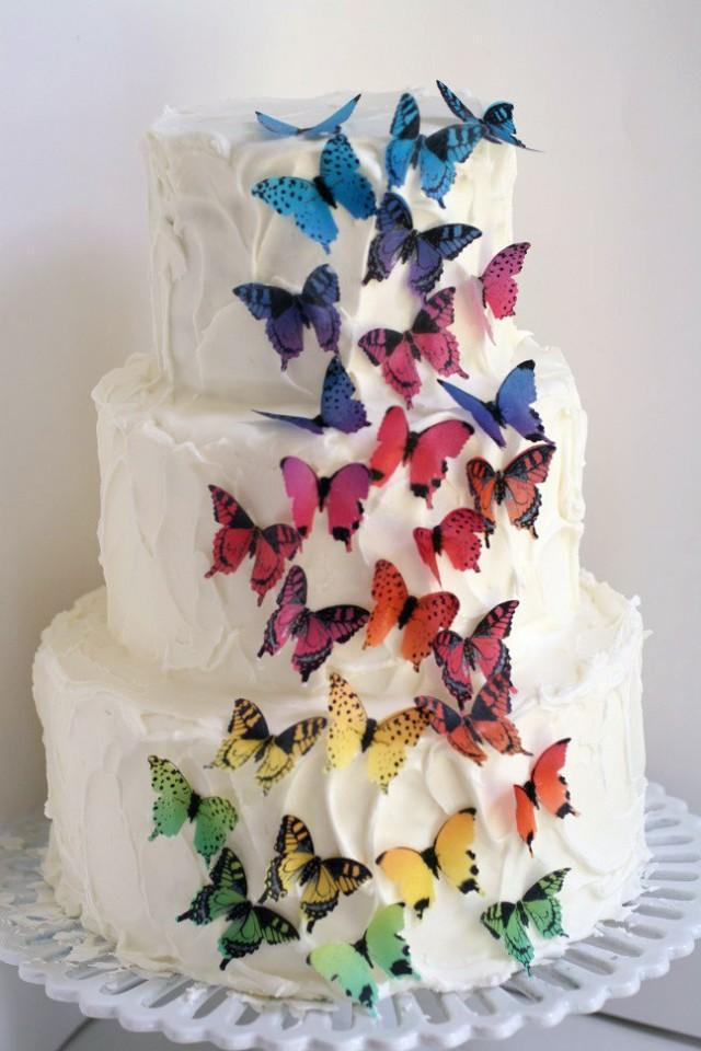 Cake Decorating With Edible Paper : 28 Rainbow Ombre Edible Butterflies, 1 1/2