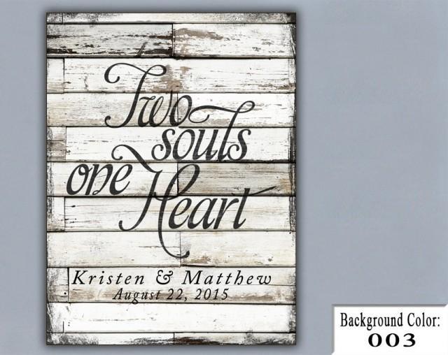 Unique Handmade Wedding Gifts: TS, Two Souls One Heart, Wedding Sign, Handmade