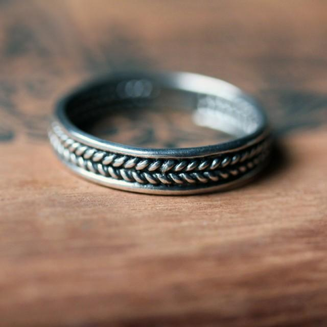 Sterling Silver Braided Ring Unisex Wedding Band Mens