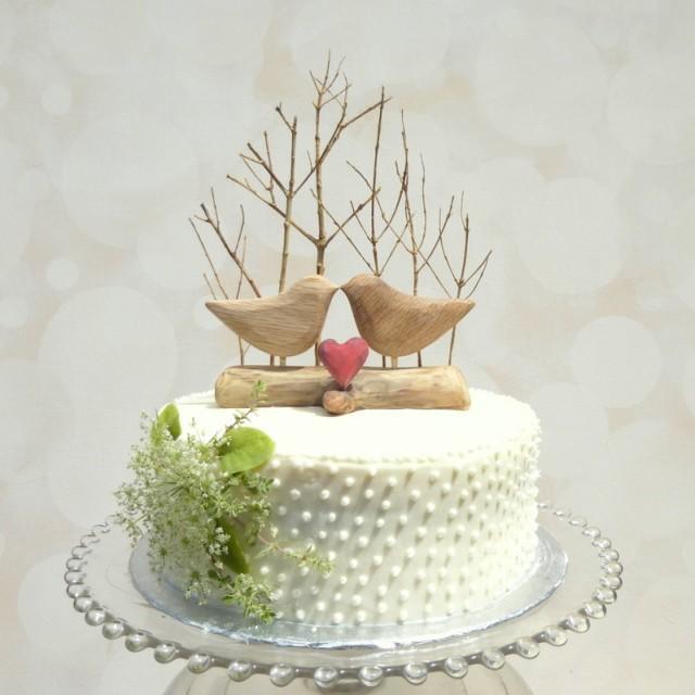 Wooden Love Birds Cake Topper