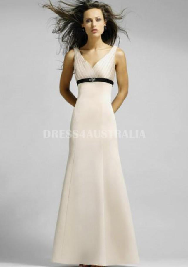 Buy Australia White A-line Pleated V-neck Satin Floor Length ...