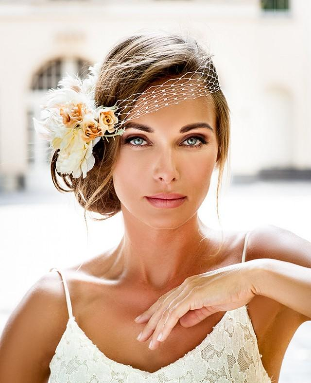 20 Wedding Hairstyles With Flowers: Bandeau Style Birdcage Veil. 2016 Bride Hair Jewelry