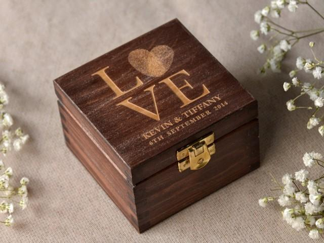 wood wedding ring bearer box  fingerprint box rustic wooden ring box  engraved bride and groom