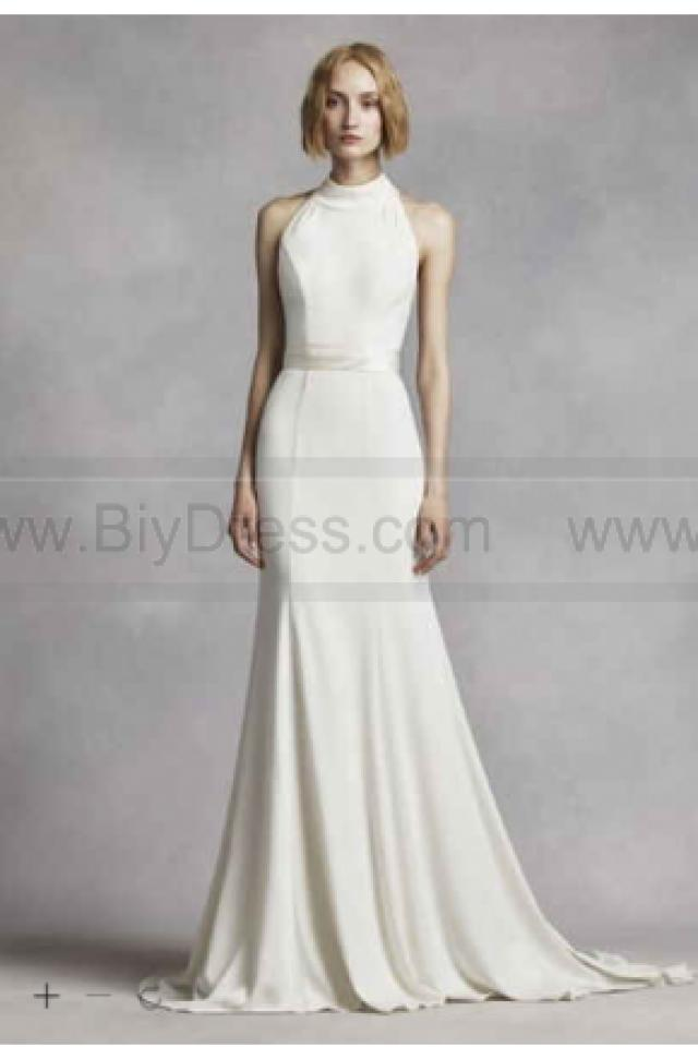 White by vera wang high neck halter wedding dress vw351263 for Discount vera wang wedding dresses
