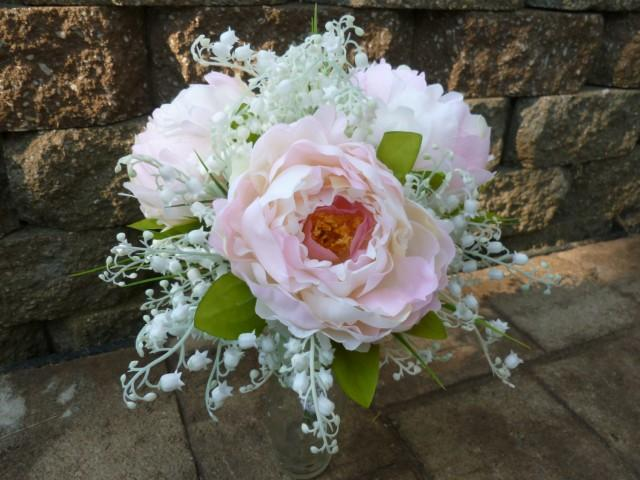 Peony, Lilies Of The Valley Artificial Bridal Bouquet