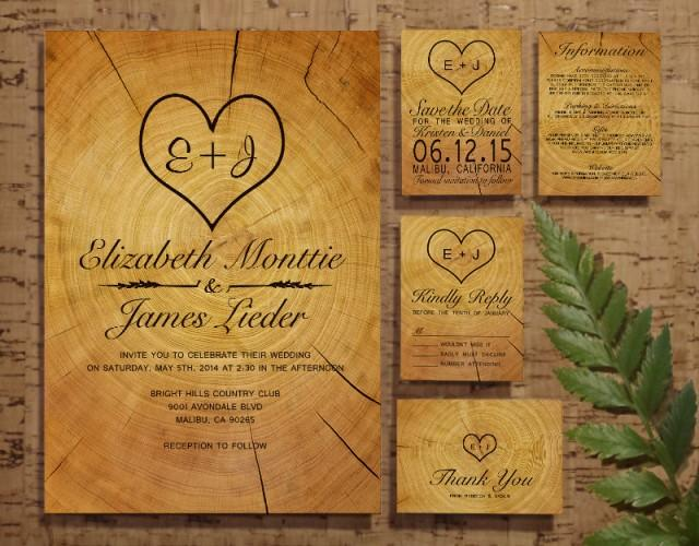 When Do I Send Out Wedding Invites: Tree Ring Wedding Invitation Set/Suite, Invites, Save The