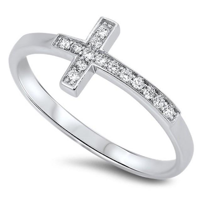 Cross Religious Pendant with Round Cut White Topaz 925 Sterling Silver