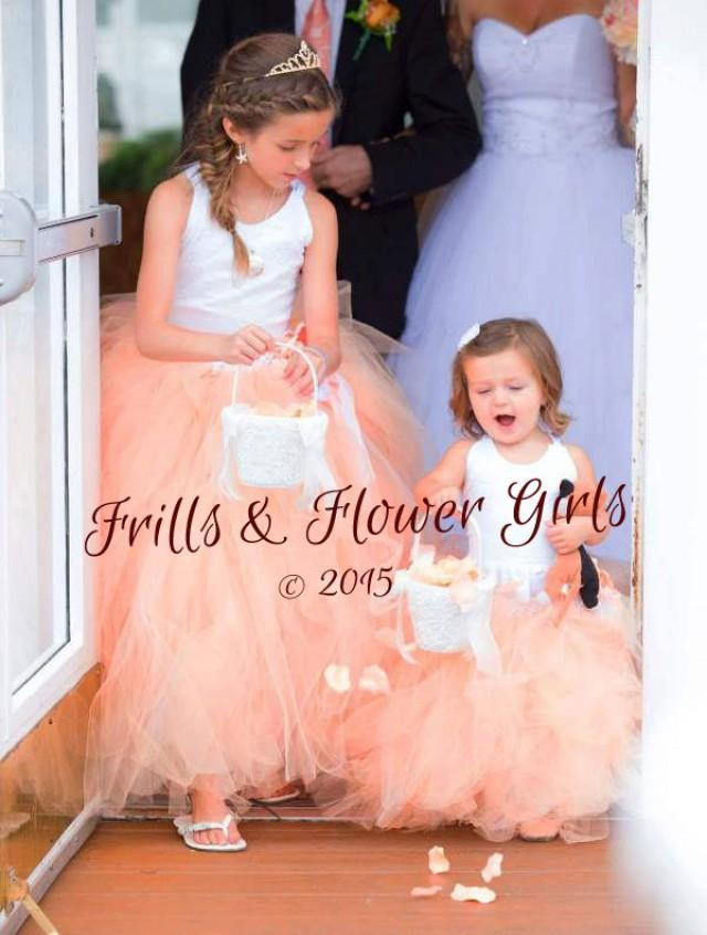 e5618cbb3 Ivory Lace Halter over Peach Tulle with Gold Glitter Tulle Tutu Dress  Flower Girl Dress Sizes 2, 3, 4, 5, 6 up to Girls Size 12