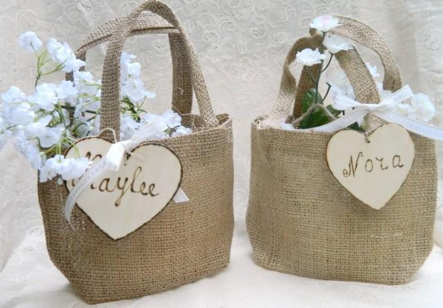 Burlap Flower Girl Small Basket Personalized Wooden Heart Rustic