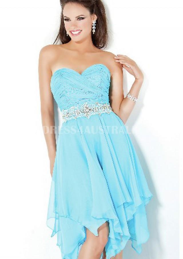 Buy Australia Sweetheart A-line Asymetrical Ice Blue Chiffon ...