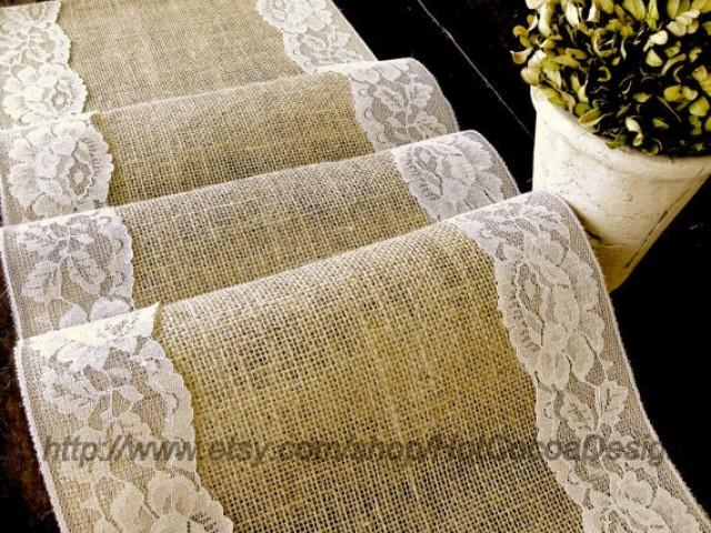 Country Wedding Table Runner Burlap And Lace Wedding Rustic Table Linens  Bridal Shower Party, Handmade In The USA #2428353   Weddbook