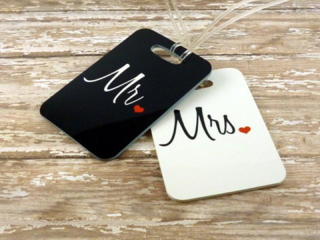 Personalized Luggage Tags Wedding Gift: Personalized Set Of Mr. And Mrs. Luggage Tags