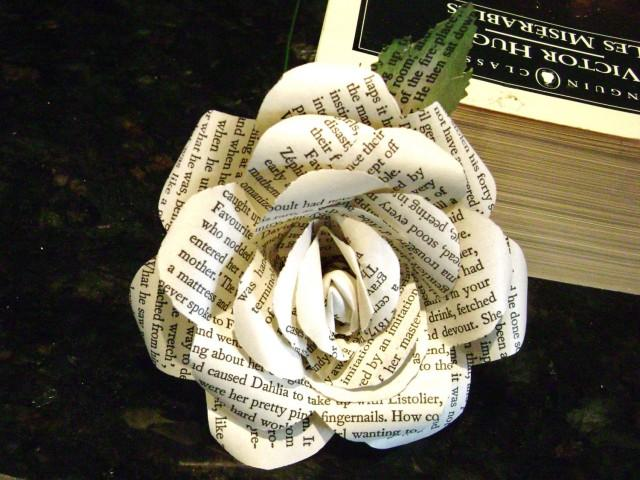 victor hugos les miserables recycled book page paper roses flowers for wedding bouquet decorations bridesmaid bouquets toss farmhouse style 2428459