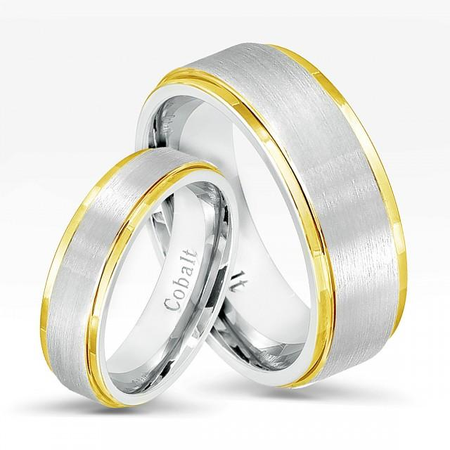 Wedding Bands For Her: 2-Tone Cobalt Wedding Band Set,Comfort Fit Wedding Bands
