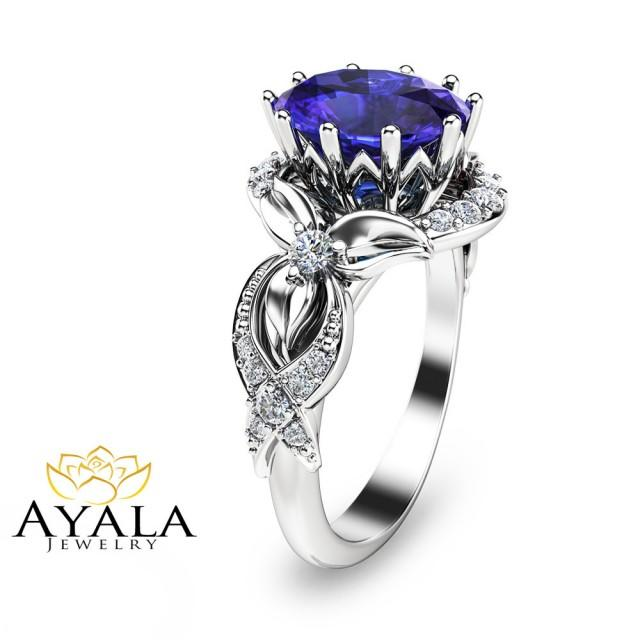 Tanzanite Ring-White Gold Tanzanite Engagement Ring-3 ...