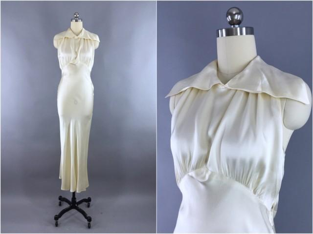 Vintage 1930s Wedding Dress 30s Bias Cut Dress 1930