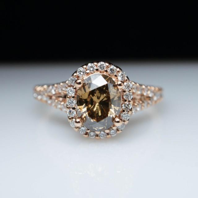 Oval Light Brown Diamond Engagement Ring Halo 14k Rose
