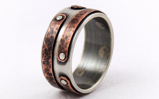 Rustic Copper Engagement Men S Ring Wedding Ring Unique