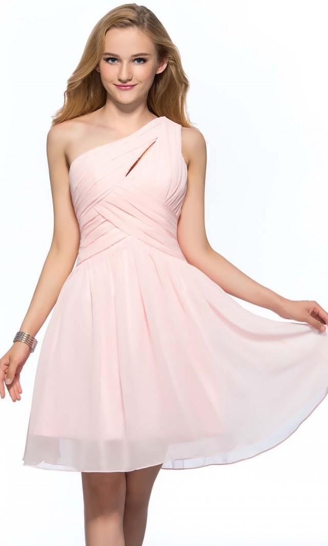 Pink Keyhole One Shoulder Short Bridesmaid Dress Uk Ksp388 Ksp388