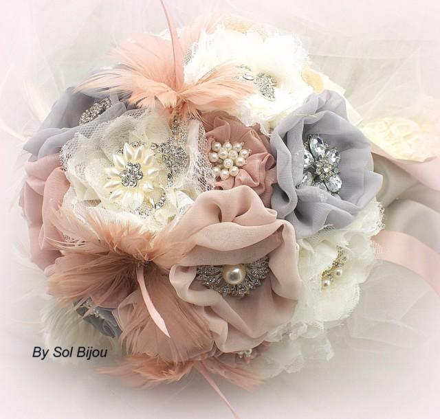 Pink And Gray Brooch Bouquet Ivory Blush Silver Dusty