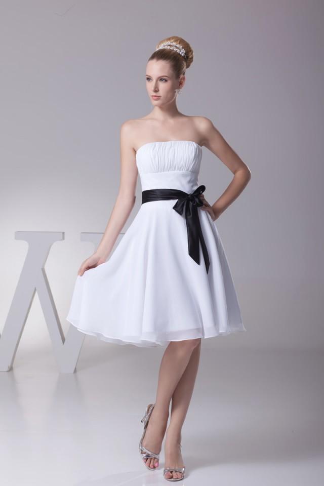 8cf7c9cdec Classic Short Strapless White And Black Short Bridesmaid Dresses KSP218   2429159 - Weddbook