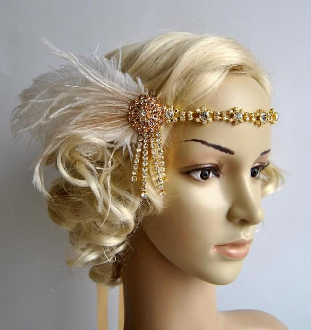 Gold Rhinestone Headband Headpiece With Feathers,Great ...