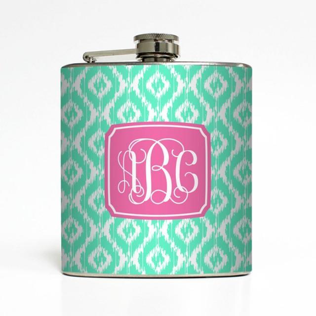 Custom Flask Personalized Color Ikat Vine Monogram 21st