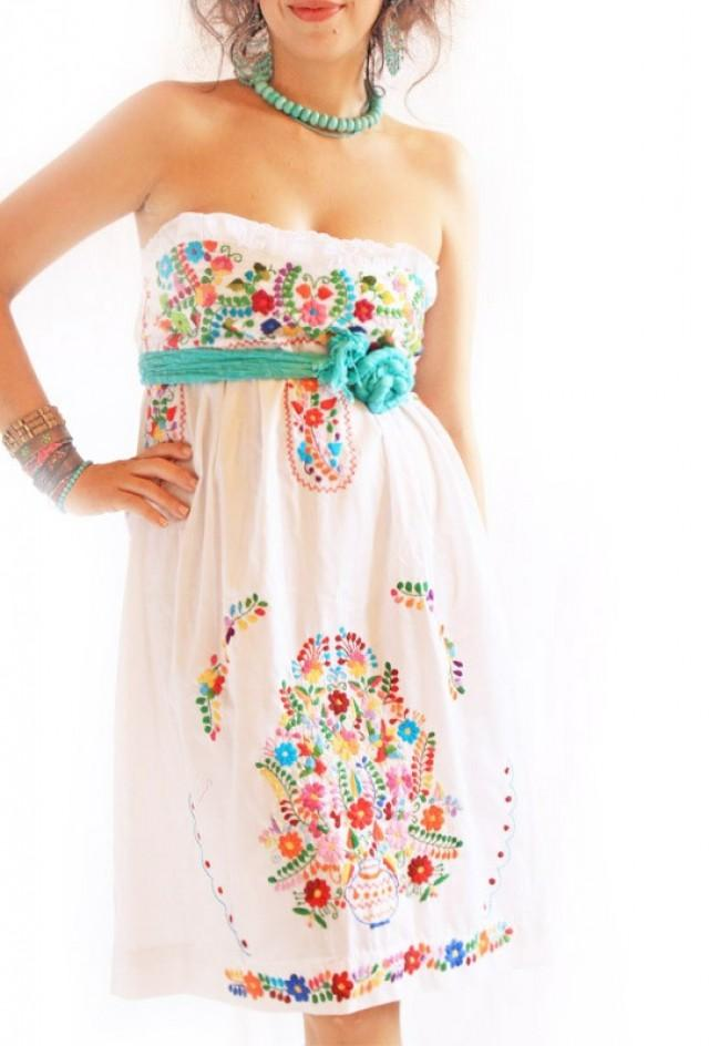 Alegria White Mexican Embroidered Bohemian Strapless Dress #2429935 -  Weddbook