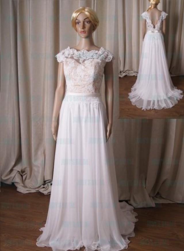 Lj223 Sexy Illusion Lace Open V Back Flowy Chiffon Bridal Wedding