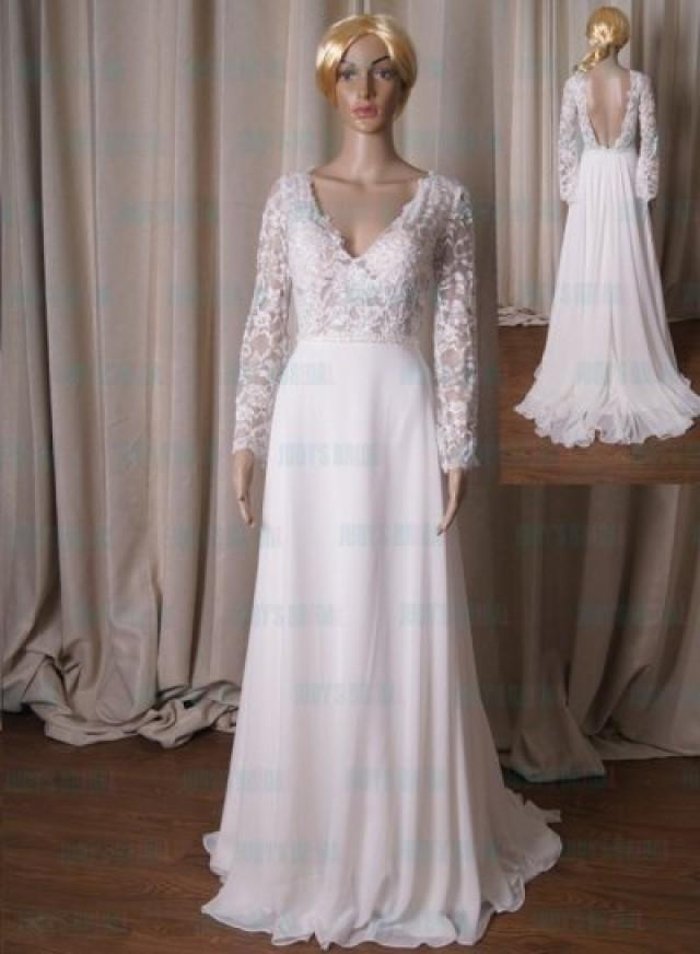 Lj224 semi see through long sleeves lace with chiffon for Wedding dress with see through lace bodice