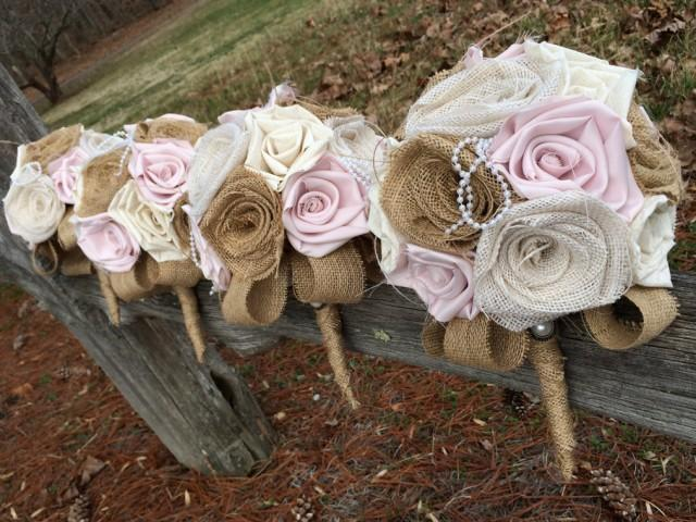 Heirloom Bouquet Blush Pink and Burlap Shabby Chic Rustic Wedding Blush Wedding Fabric Bouquet Blush and Burlap Bouquet