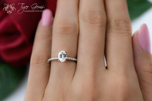 3 4 Carat Oval Cut Accented Solitaire Wedding Ring Half