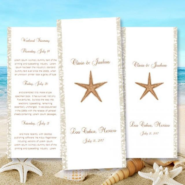 Destination Wedding Itinerary Template Starfish Beach Tropical Hawaiian Theme Worddoc Instant Download 85 X 11 DIY You Print 2430488