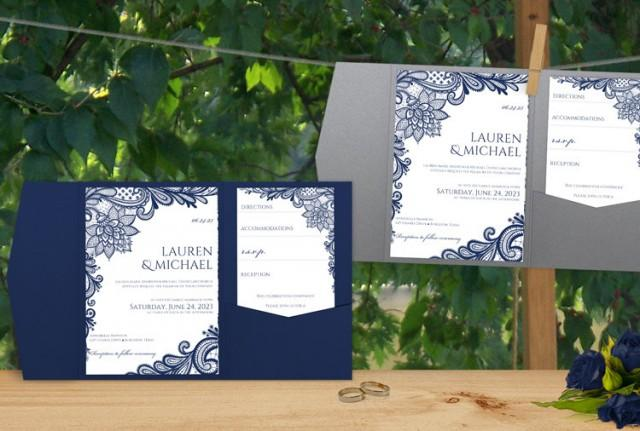 Sale pocket folder wedding invitation template set download pocket folder wedding invitation template set download instantly editable text ornate lace navy microsoft word format 2430811 weddbook stopboris Choice Image