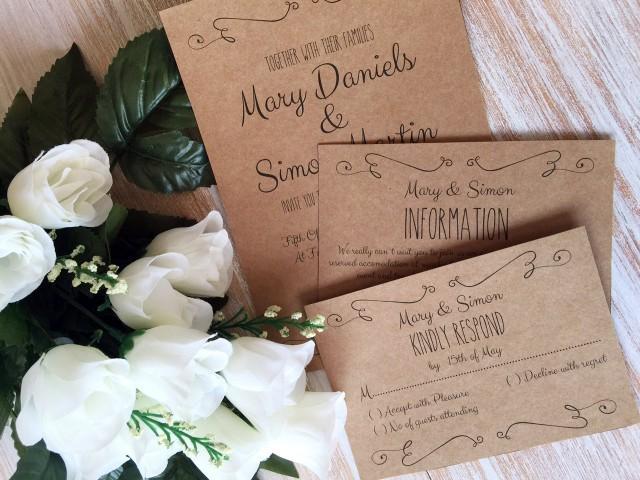 Diy Kraft Paper Wedding Invitations: DIY Wedding Invitation Template Suite, Kraft Paper Swashes