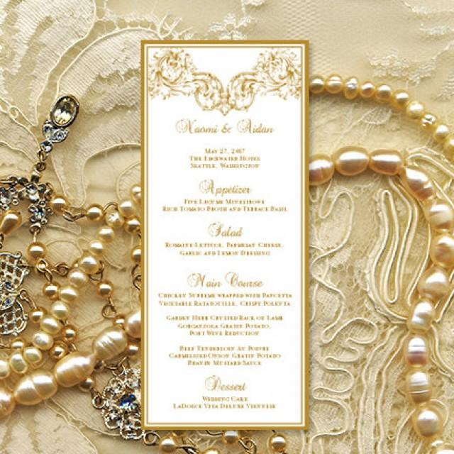printable wedding menu template  u0026quot vienna u0026quot  in gold microsoft word editable text instant download
